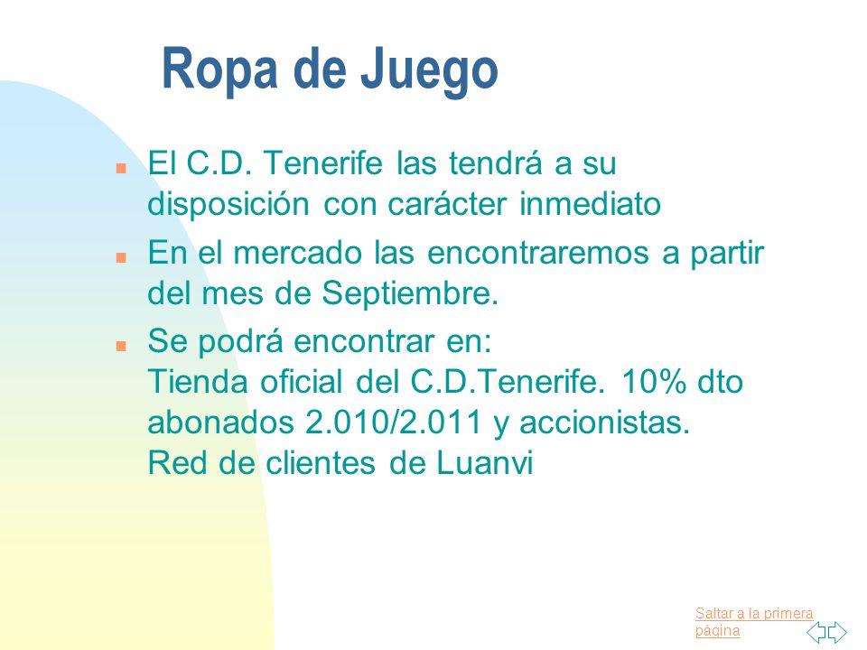 Ropa de Juego El C.D. Tenerife las tendrá a su disposición con carácter inmediato. En el mercado las encontraremos a partir del mes de Septiembre.