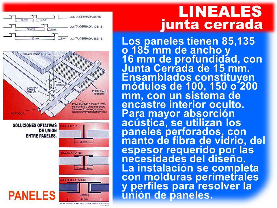 LINEALES junta cerrada PANELES Los paneles tienen 85,135