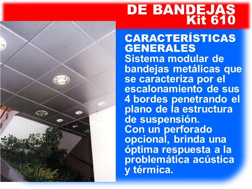 DE BANDEJAS Kit 610. CARACTERÍSTICAS GENERALES Sistema modular de bandejas metálicas que se caracteriza por el escalonamiento de sus.