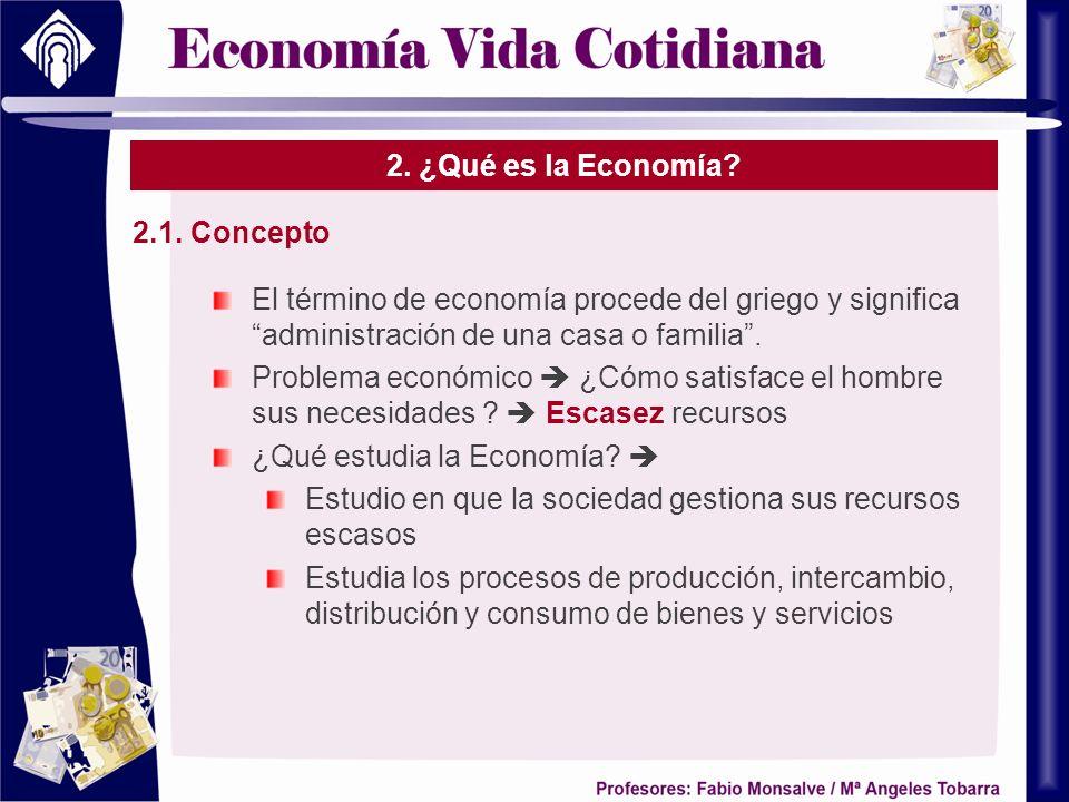 2. ¿Qué es la Economía 2.1. Concepto. El término de economía procede del griego y significa administración de una casa o familia .