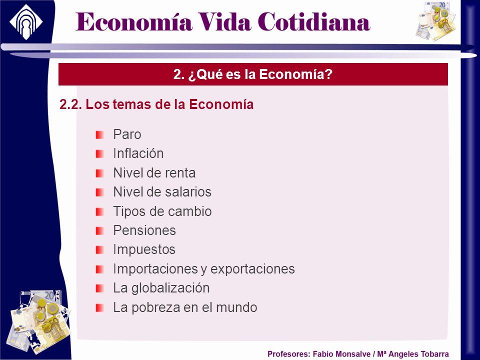 2.2. Los temas de la Economía