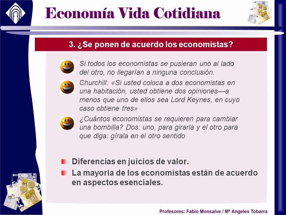 3. ¿Se ponen de acuerdo los economistas