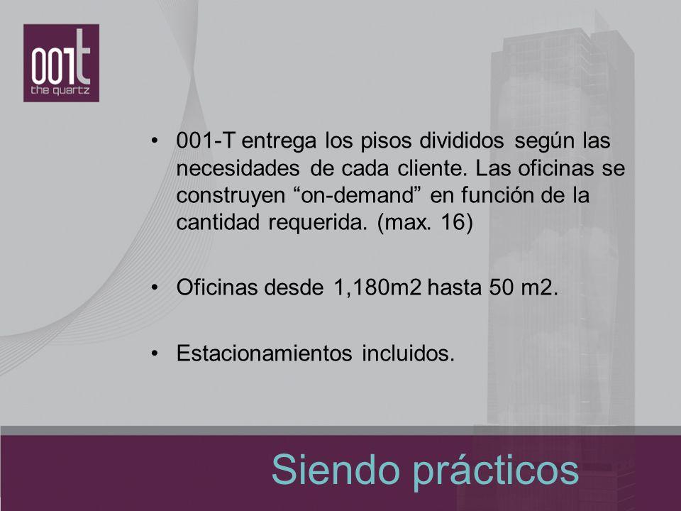 001-T entrega los pisos divididos según las necesidades de cada cliente. Las oficinas se construyen on-demand en función de la cantidad requerida. (max. 16)
