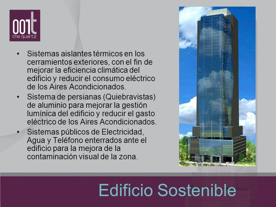 Sistemas aislantes térmicos en los cerramientos exteriores, con el fin de mejorar la eficiencia climática del edificio y reducir el consumo eléctrico de los Aires Acondicionados.