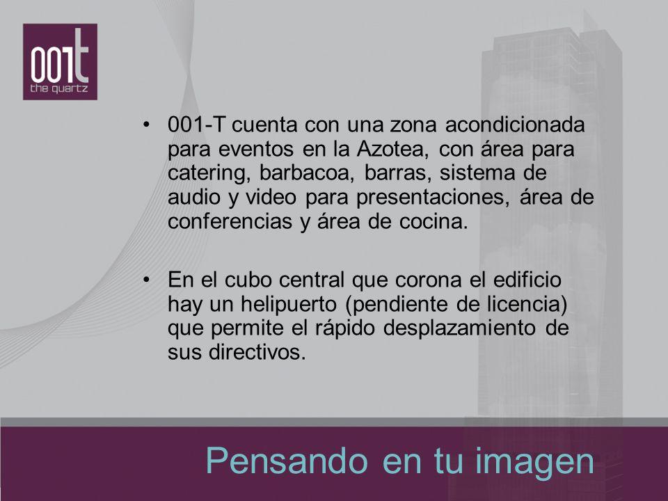 001-T cuenta con una zona acondicionada para eventos en la Azotea, con área para catering, barbacoa, barras, sistema de audio y video para presentaciones, área de conferencias y área de cocina.