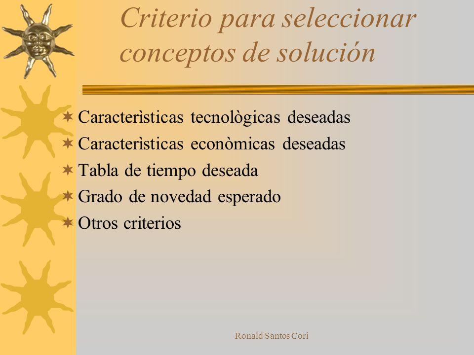 Criterio para seleccionar conceptos de solución