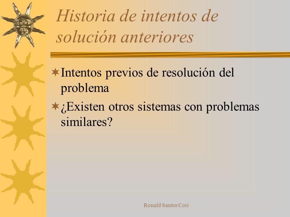 Historia de intentos de solución anteriores