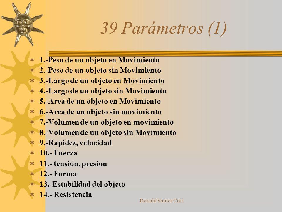 39 Parámetros (1) 1.-Peso de un objeto en Movimiento