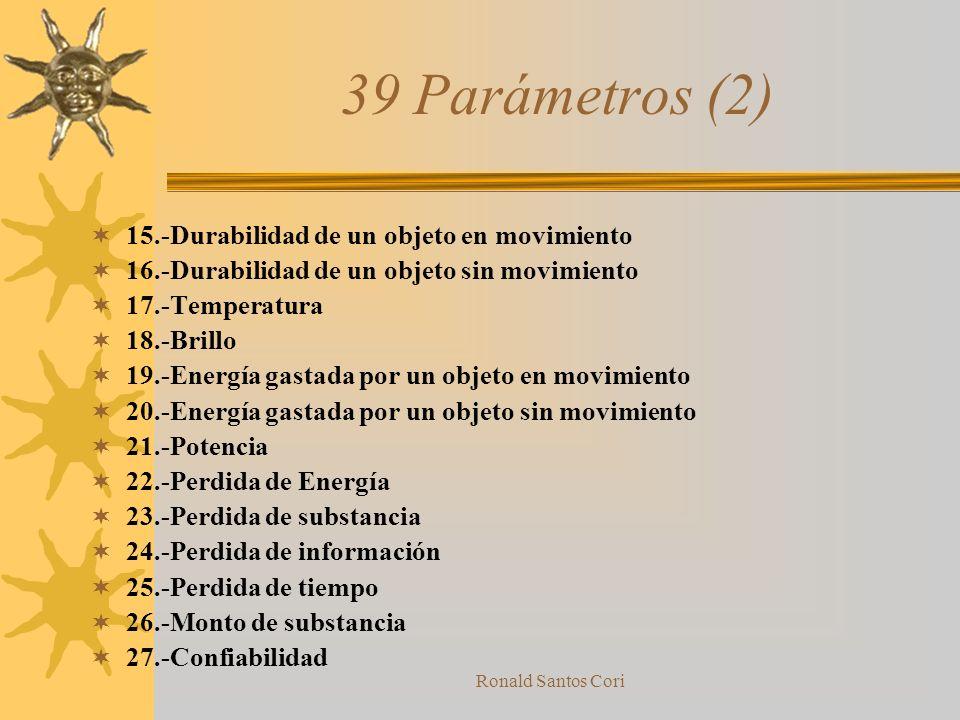 39 Parámetros (2) 15.-Durabilidad de un objeto en movimiento