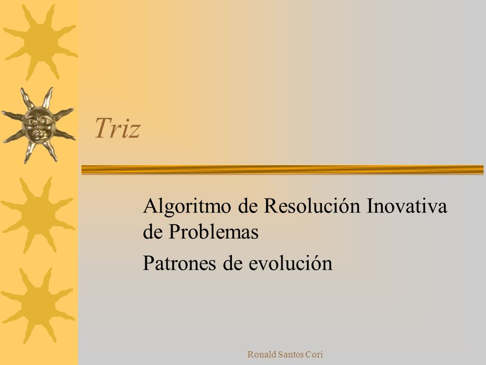 Algoritmo de Resolución Inovativa de Problemas Patrones de evolución
