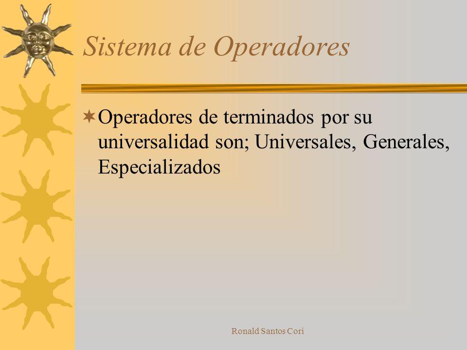 Sistema de Operadores Operadores de terminados por su universalidad son; Universales, Generales, Especializados.