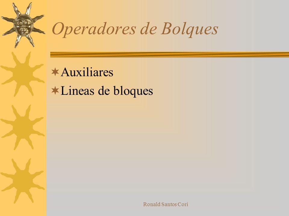 Operadores de Bolques Auxiliares Lineas de bloques Ronald Santos Cori