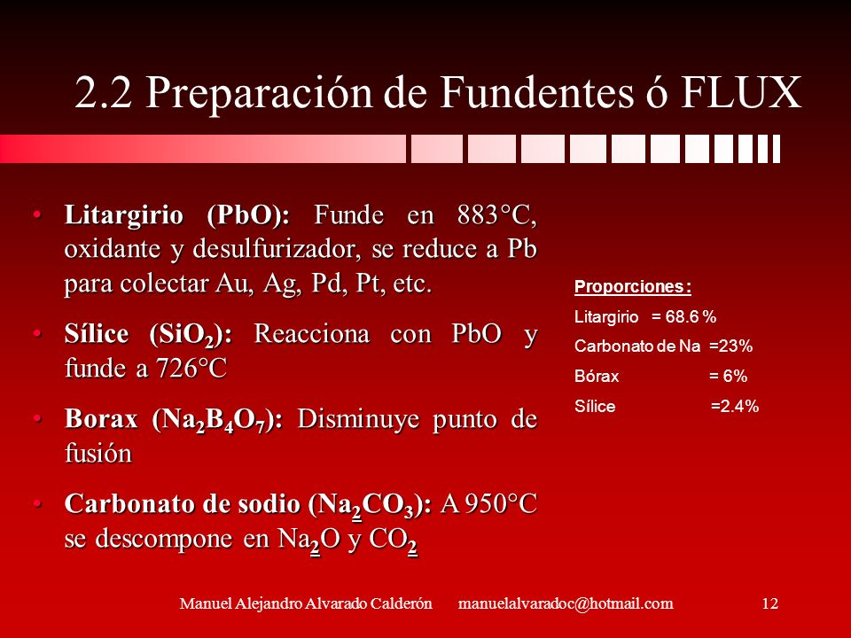 2.2 Preparación de Fundentes ó FLUX