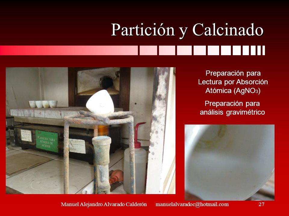 Partición y Calcinado Preparación para Lectura por Absorción Atómica (AgNO3) Preparación para análisis gravimétrico.
