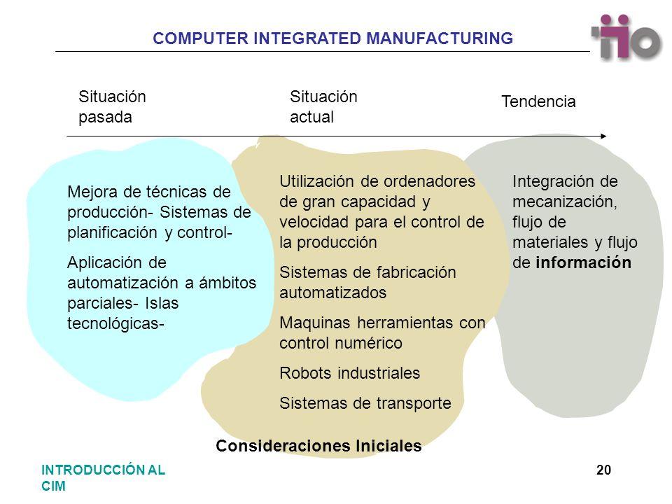 Situación pasada Situación actual. Tendencia. Utilización de ordenadores de gran capacidad y velocidad para el control de la producción.