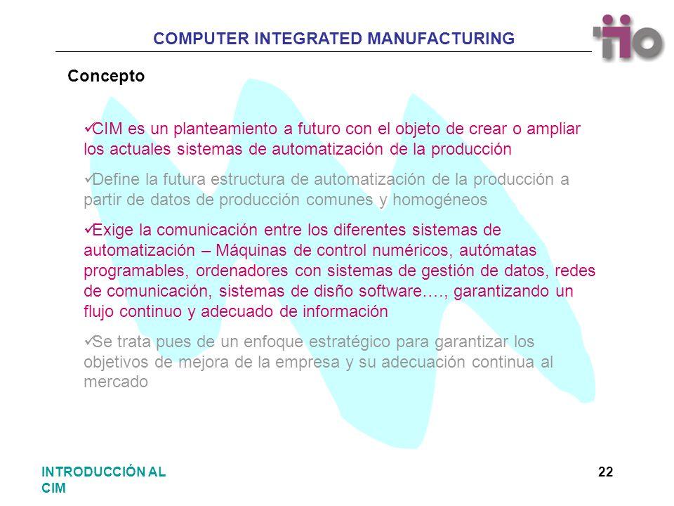Concepto CIM es un planteamiento a futuro con el objeto de crear o ampliar los actuales sistemas de automatización de la producción.