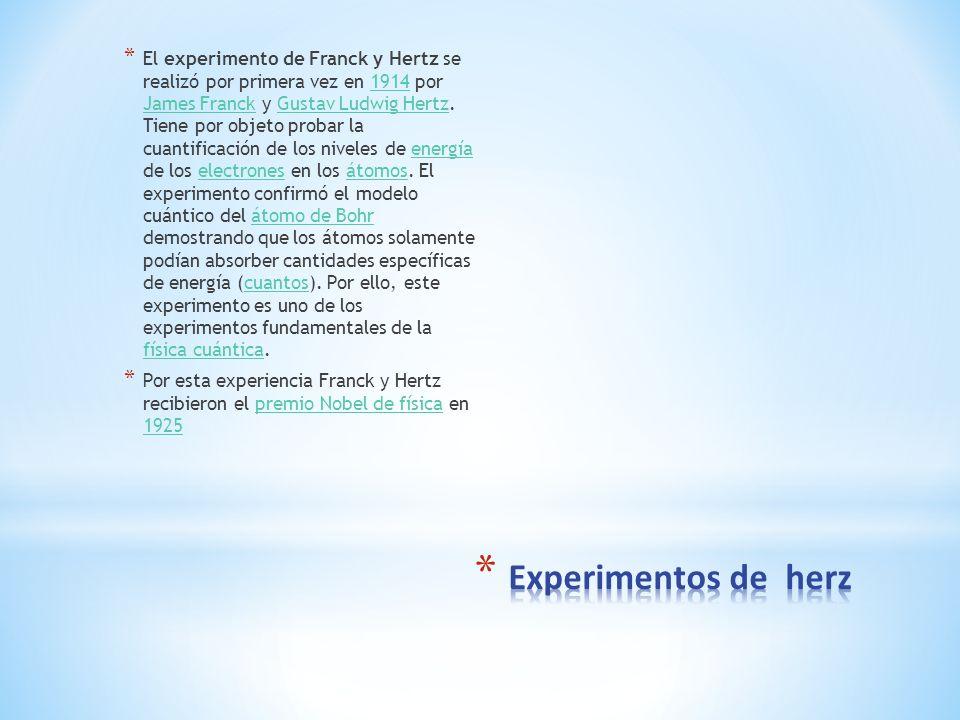 El experimento de Franck y Hertz se realizó por primera vez en 1914 por James Franck y Gustav Ludwig Hertz. Tiene por objeto probar la cuantificación de los niveles de energía de los electrones en los átomos. El experimento confirmó el modelo cuántico del átomo de Bohr demostrando que los átomos solamente podían absorber cantidades específicas de energía (cuantos). Por ello, este experimento es uno de los experimentos fundamentales de la física cuántica.