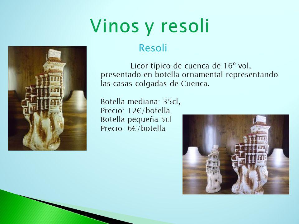 Vinos y resoli Resoli. Licor típico de cuenca de 16º vol, presentado en botella ornamental representando las casas colgadas de Cuenca.
