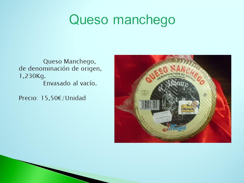 Queso manchego Queso Manchego, de denominación de origen, 1,230Kg.