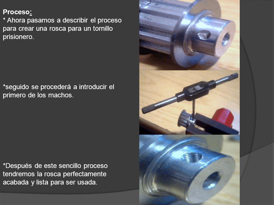 Proceso: * Ahora pasamos a describir el proceso para crear una rosca para un tornillo prisionero.