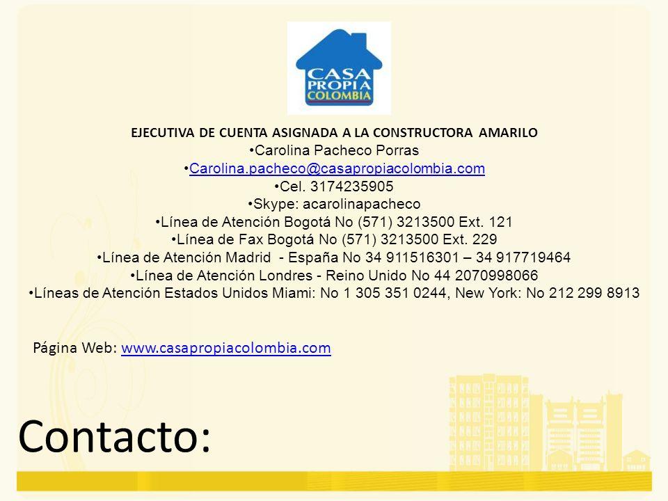 EJECUTIVA DE CUENTA ASIGNADA A LA CONSTRUCTORA AMARILO