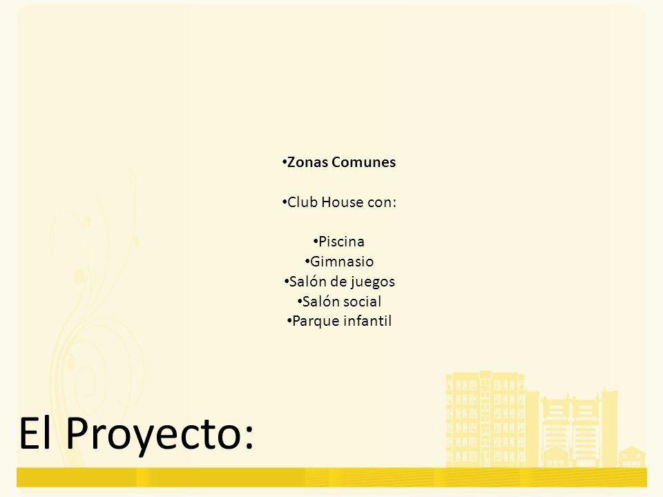 El Proyecto: Zonas Comunes Club House con: Piscina Gimnasio