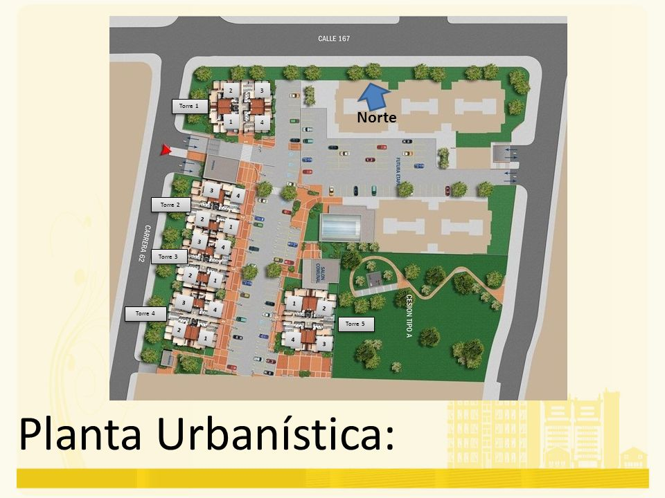 Planta Urbanística: Norte 2 3 Torre 1 1 4 3 4 Torre 2 2 1 3 4 Torre 3