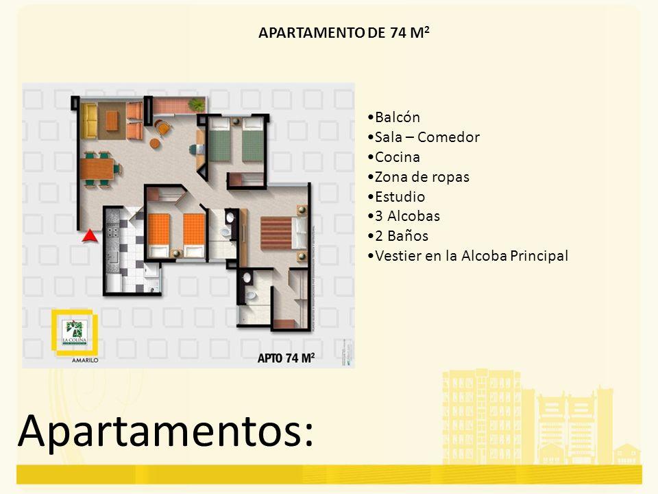 Apartamentos: APARTAMENTO DE 74 M2 Balcón Sala – Comedor Cocina
