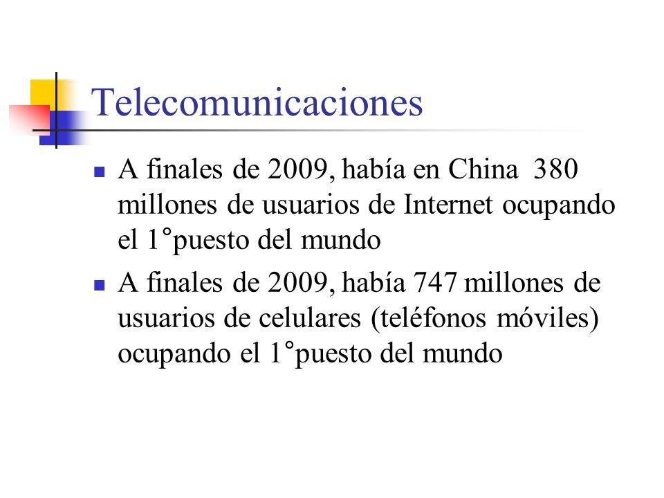 Telecomunicaciones A finales de 2009, había en China 380 millones de usuarios de Internet ocupando el 1°puesto del mundo.