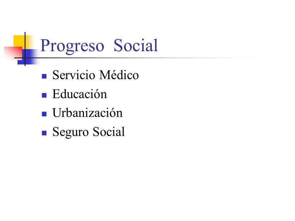 Progreso Social Servicio Médico Educación Urbanización Seguro Social