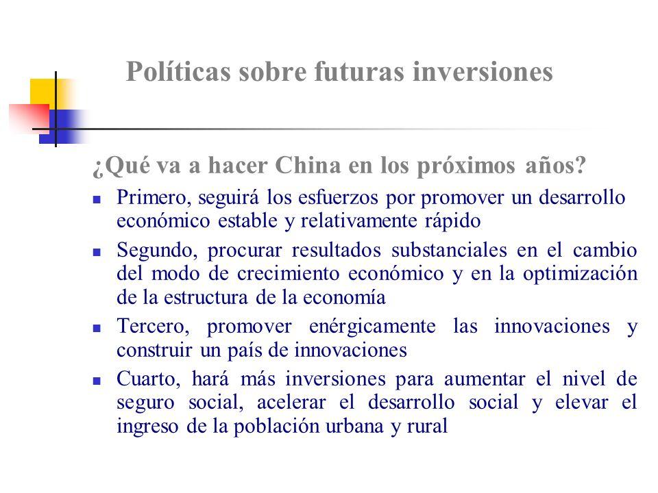 Políticas sobre futuras inversiones
