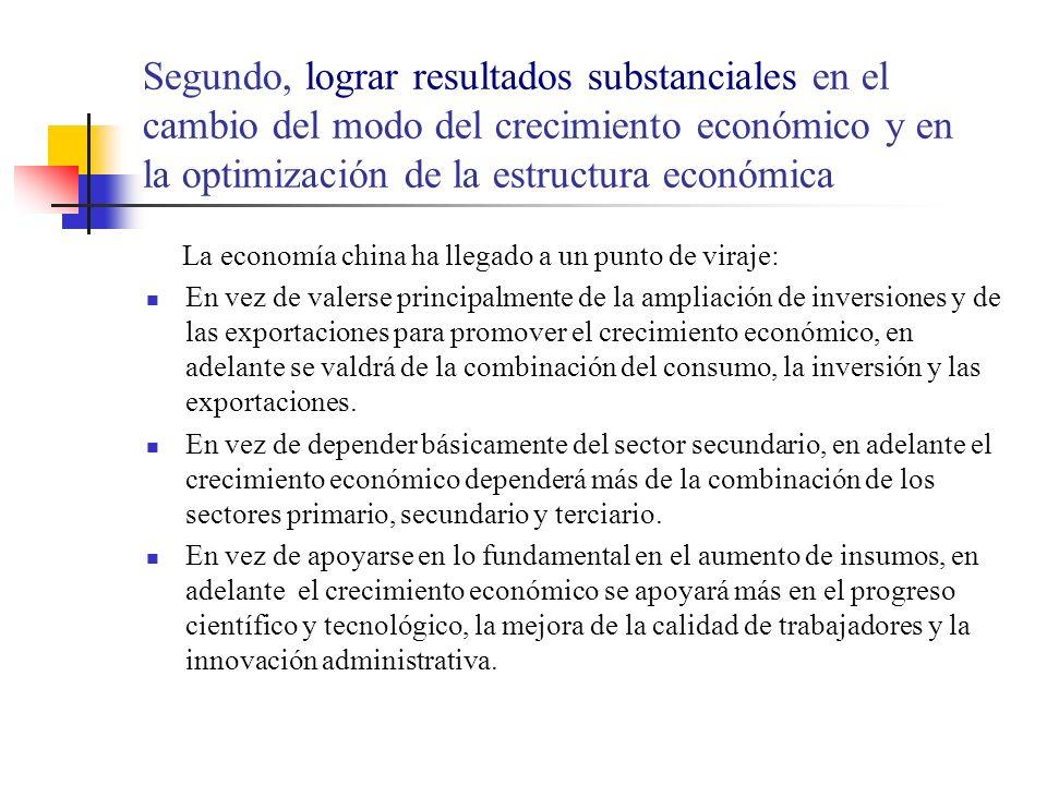 Segundo, lograr resultados substanciales en el cambio del modo del crecimiento económico y en la optimización de la estructura económica