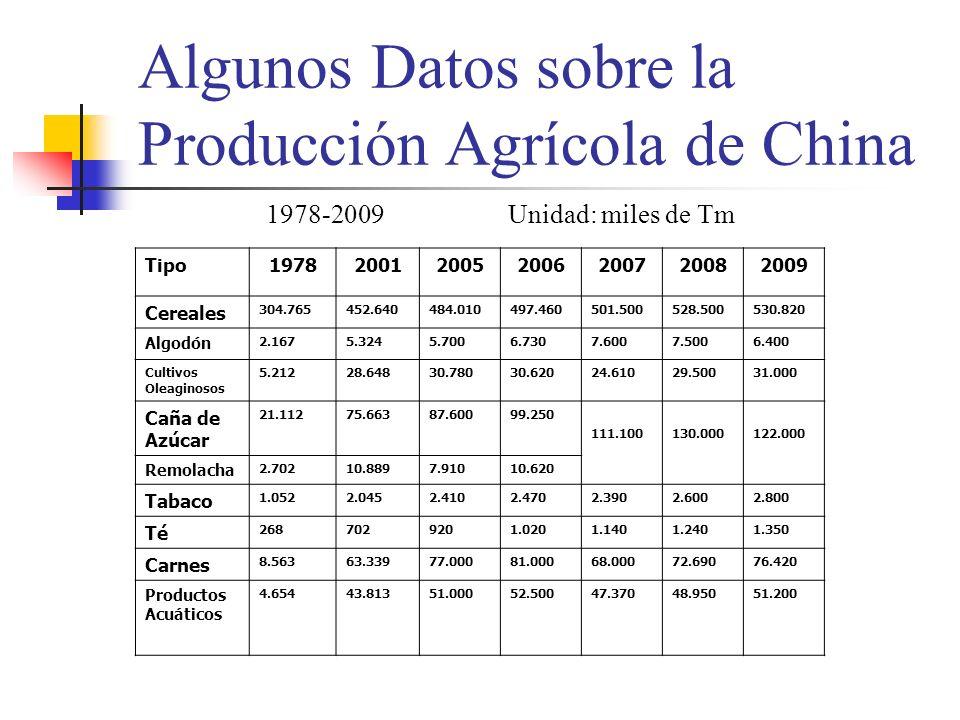 Algunos Datos sobre la Producción Agrícola de China