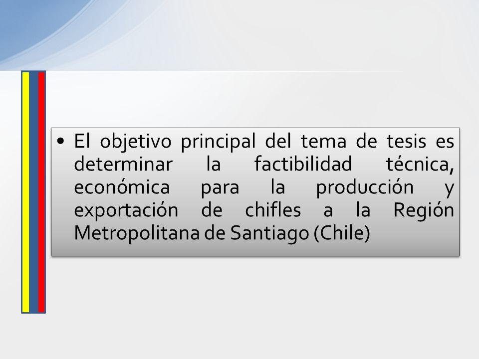 El objetivo principal del tema de tesis es determinar la factibilidad técnica, económica para la producción y exportación de chifles a la Región Metropolitana de Santiago (Chile)