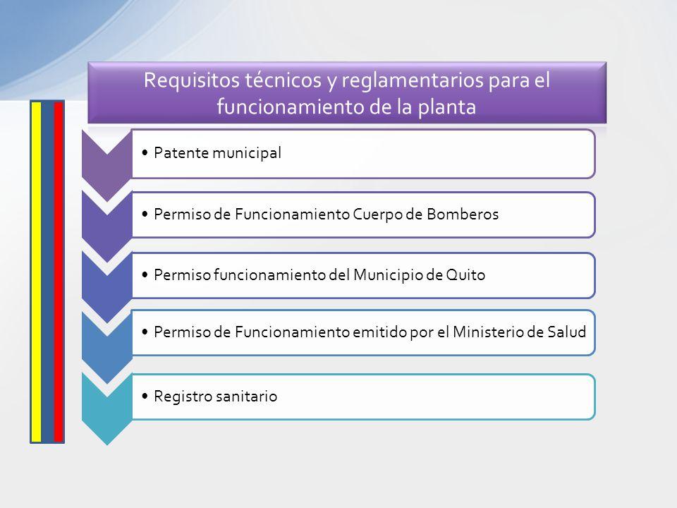 Requisitos técnicos y reglamentarios para el funcionamiento de la planta