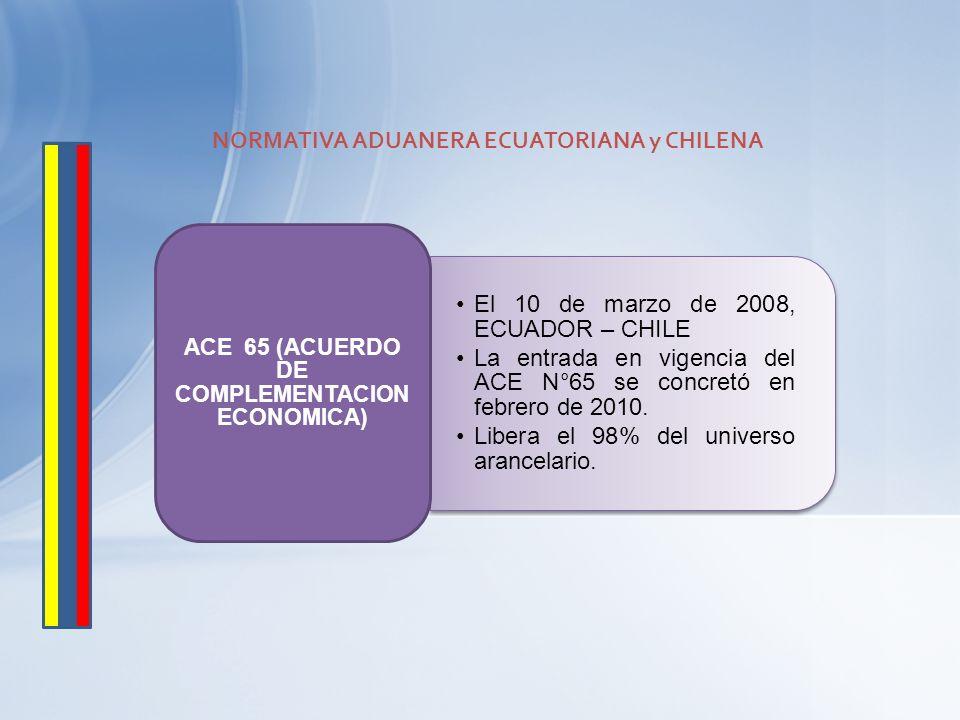 NORMATIVA ADUANERA ECUATORIANA y CHILENA