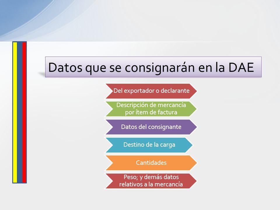 Datos que se consignarán en la DAE