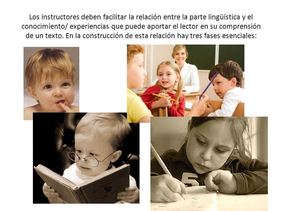 Los instructores deben facilitar la relación entre la parte lingüística y el conocimiento/ experiencias que puede aportar el lector en su comprensión de un texto.