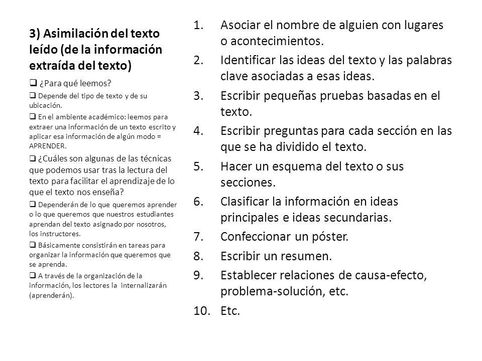 3) Asimilación del texto leído (de la información extraída del texto)