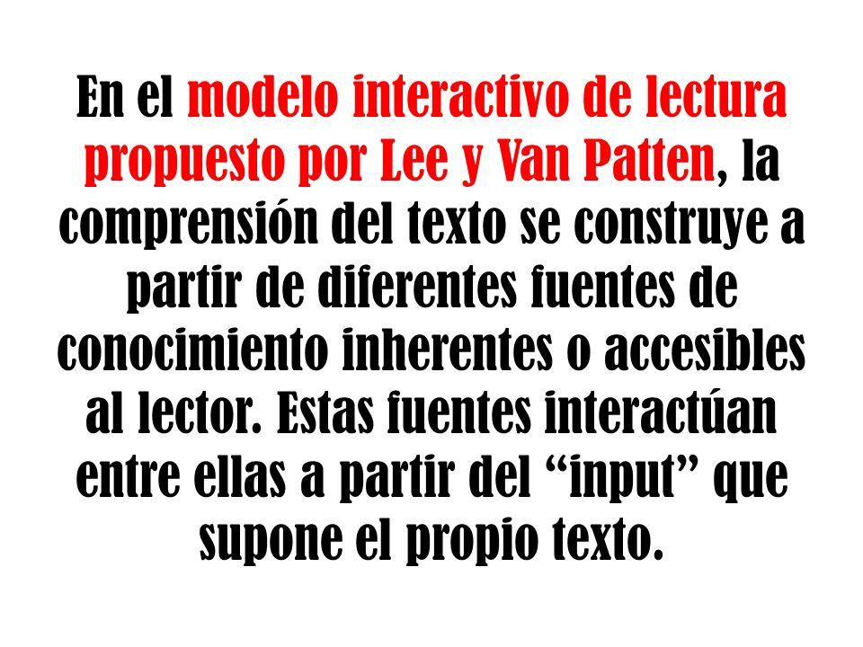 En el modelo interactivo de lectura propuesto por Lee y Van Patten, la comprensión del texto se construye a partir de diferentes fuentes de conocimiento inherentes o accesibles al lector.