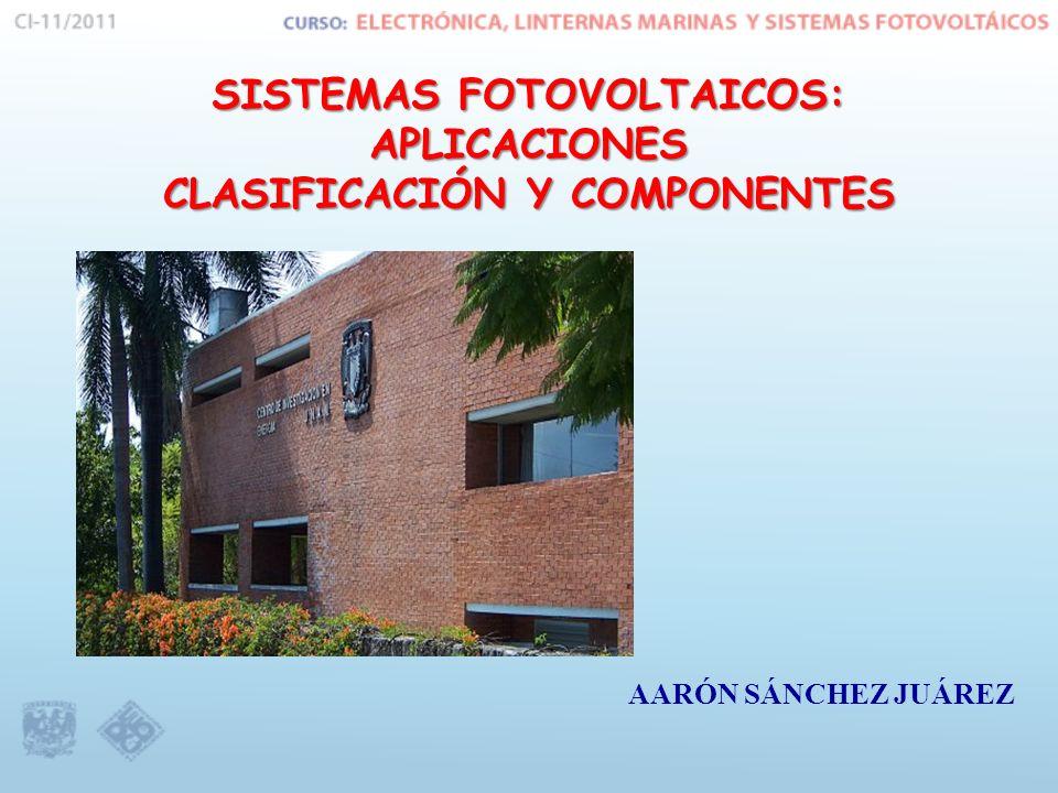 SISTEMAS FOTOVOLTAICOS: APLICACIONES CLASIFICACIÓN Y COMPONENTES