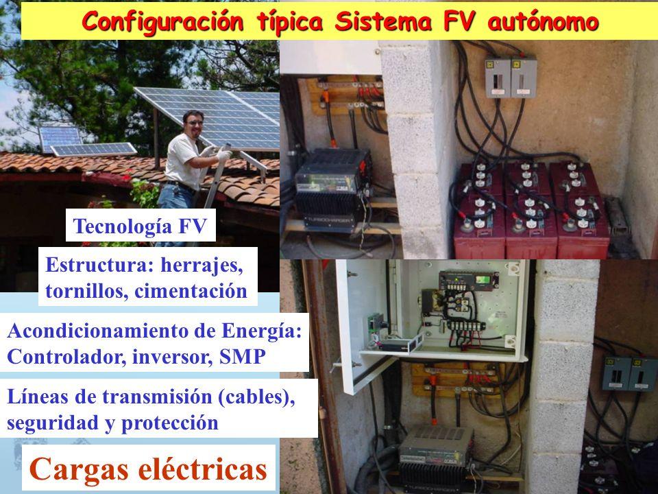Configuración típica Sistema FV autónomo