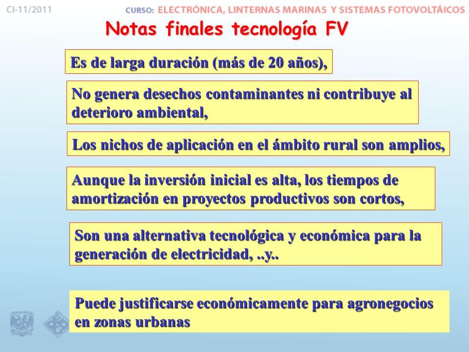 Notas finales tecnología FV