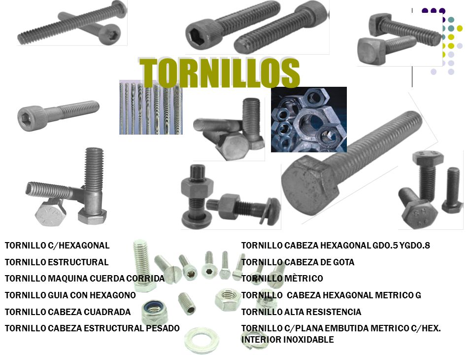TORNILLOS TORNILLO C/HEXAGONAL TORNILLO CABEZA HEXAGONAL GDO.5 YGDO.8
