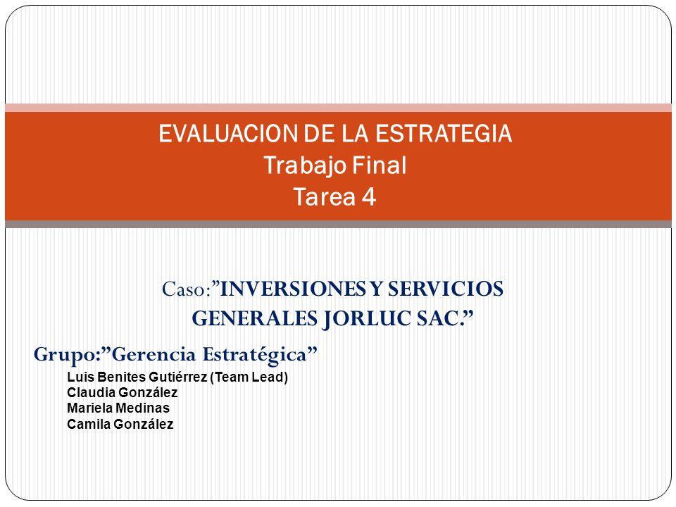 EVALUACION DE LA ESTRATEGIA Trabajo Final Tarea 4
