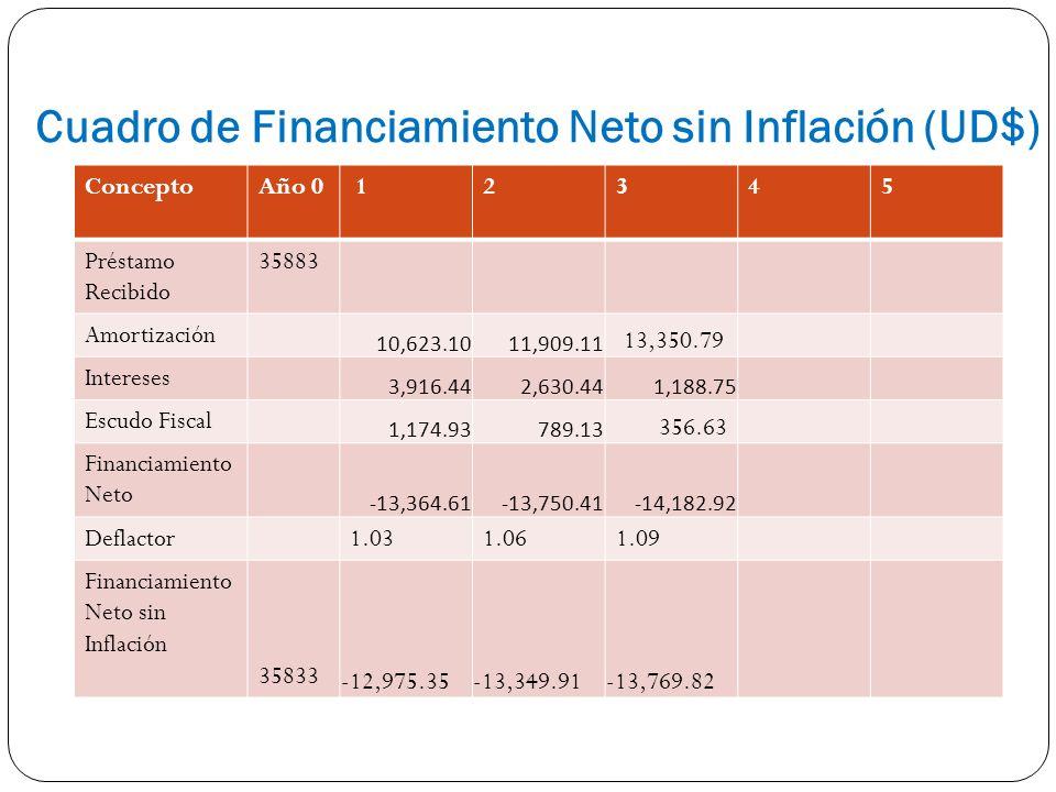 Cuadro de Financiamiento Neto sin Inflación (UD$)