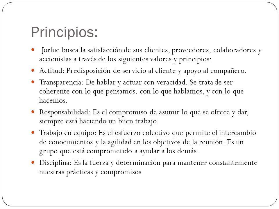 Principios: Jorluc busca la satisfacción de sus clientes, proveedores, colaboradores y accionistas a través de los siguientes valores y principios: