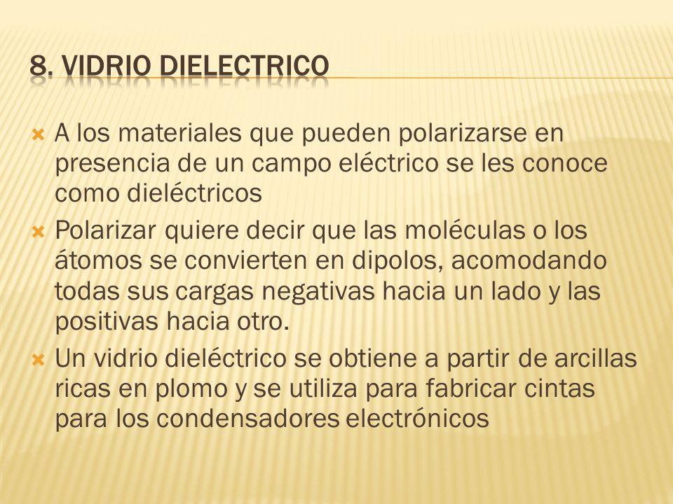 8. VIDRIO DIELECTRICO A los materiales que pueden polarizarse en presencia de un campo eléctrico se les conoce como dieléctricos.
