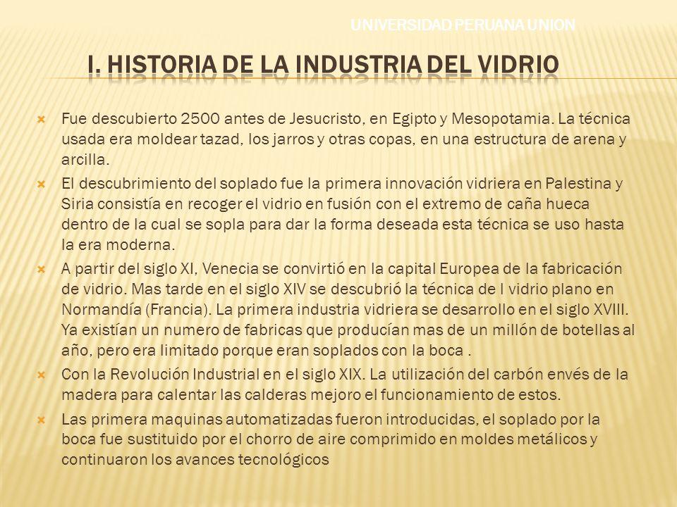 i. HISTORIA DE LA INDUSTRIA DEL VIDRIO