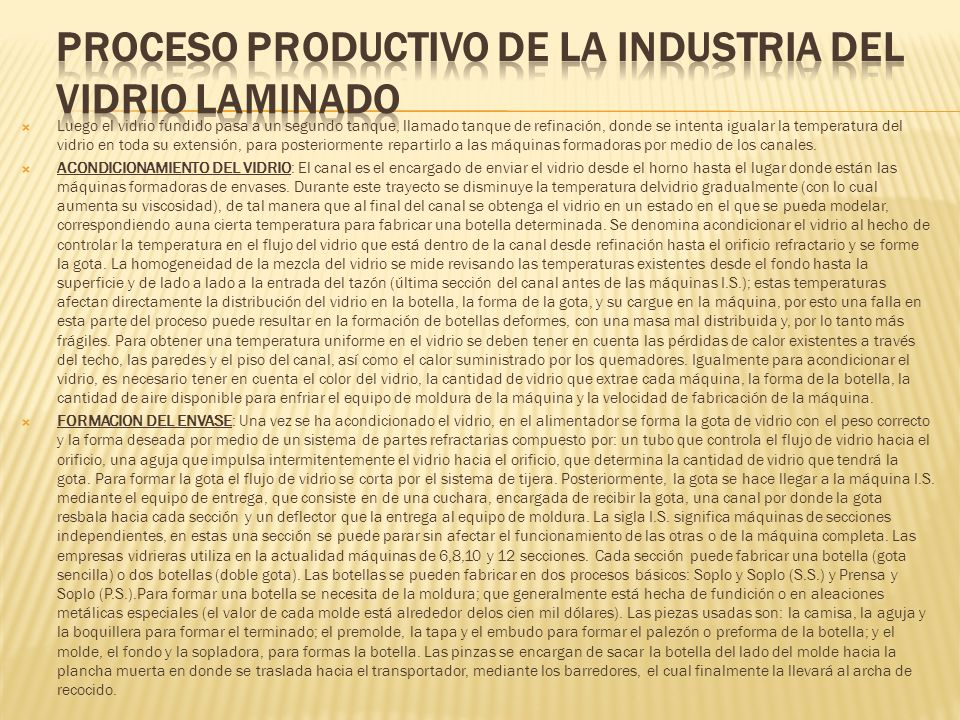 PROCESO PRODUCTIVO DE LA INDUSTRIA DEL VIDRIO LAMINADO